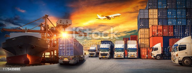 istock Industrial Container Cargo freight ship, forklift handling container box loading for logistic import export and transport industry concept backgroundtransport industry background 1175435693