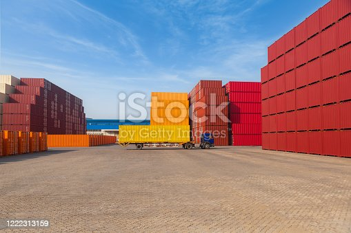 697974610 istock photo Industrial Container yard for Logistic Import Export business 1222313159