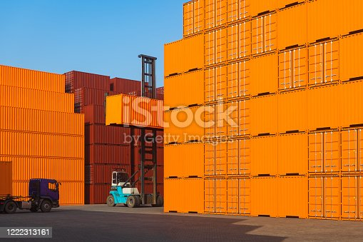 697974610 istock photo Industrial Container yard for Logistic Import Export business 1222313161