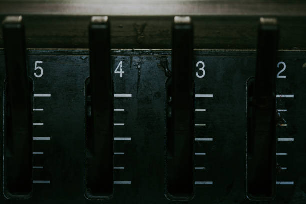 Industrial Control Panel Numbered Levers stock photo