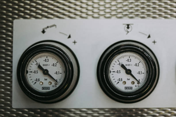 Industrial Control Panel with Gauges stock photo