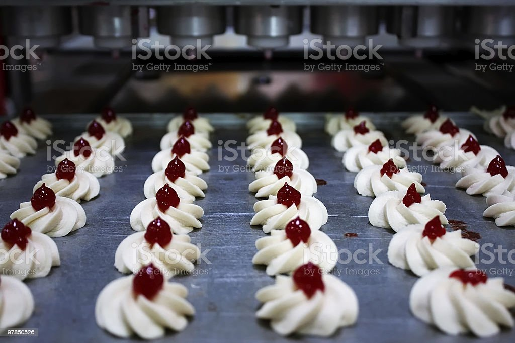 Industrial conveyor for making pastry royalty-free stock photo