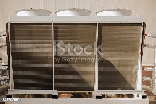 istock Industrial cooling tower. Industrial air-conditioning system 871702892