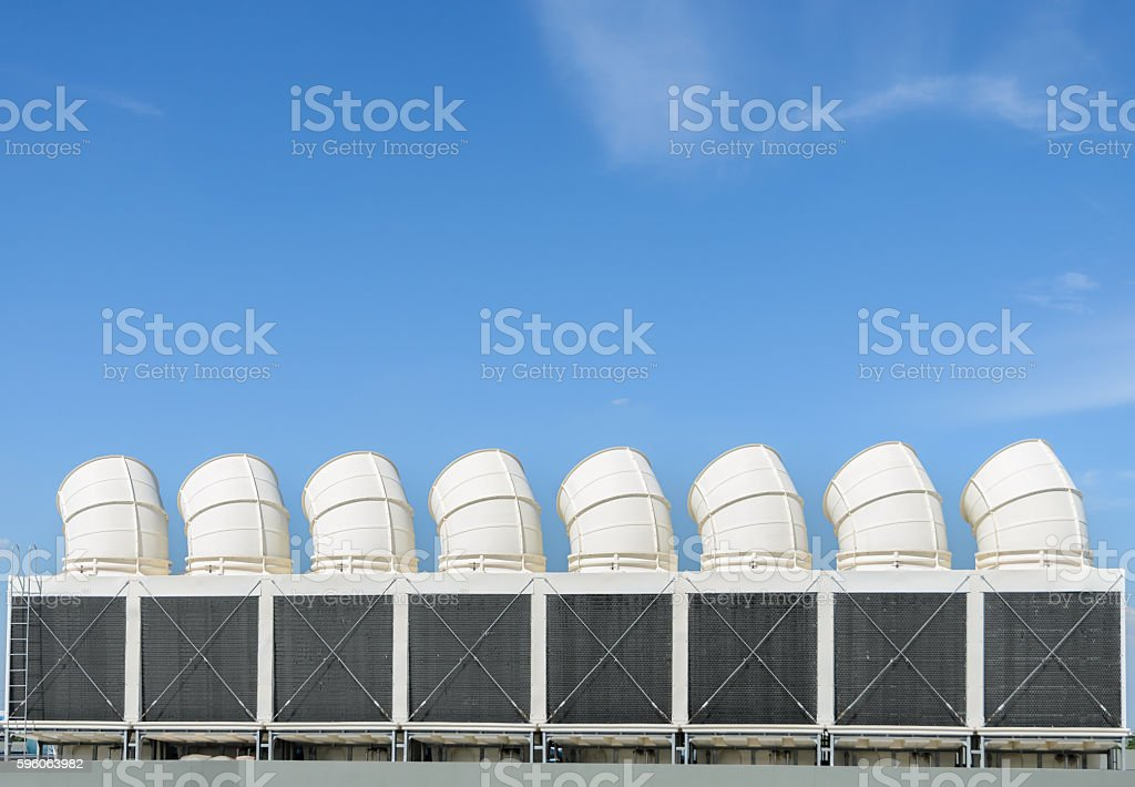 Industrial cooling towers or air cooled chillers royalty-free stock photo