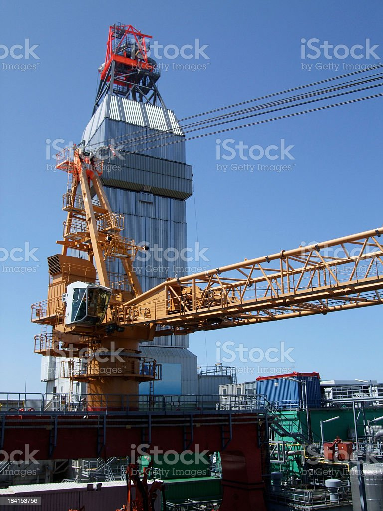 Industrial Crane on Oil Rig royalty-free stock photo