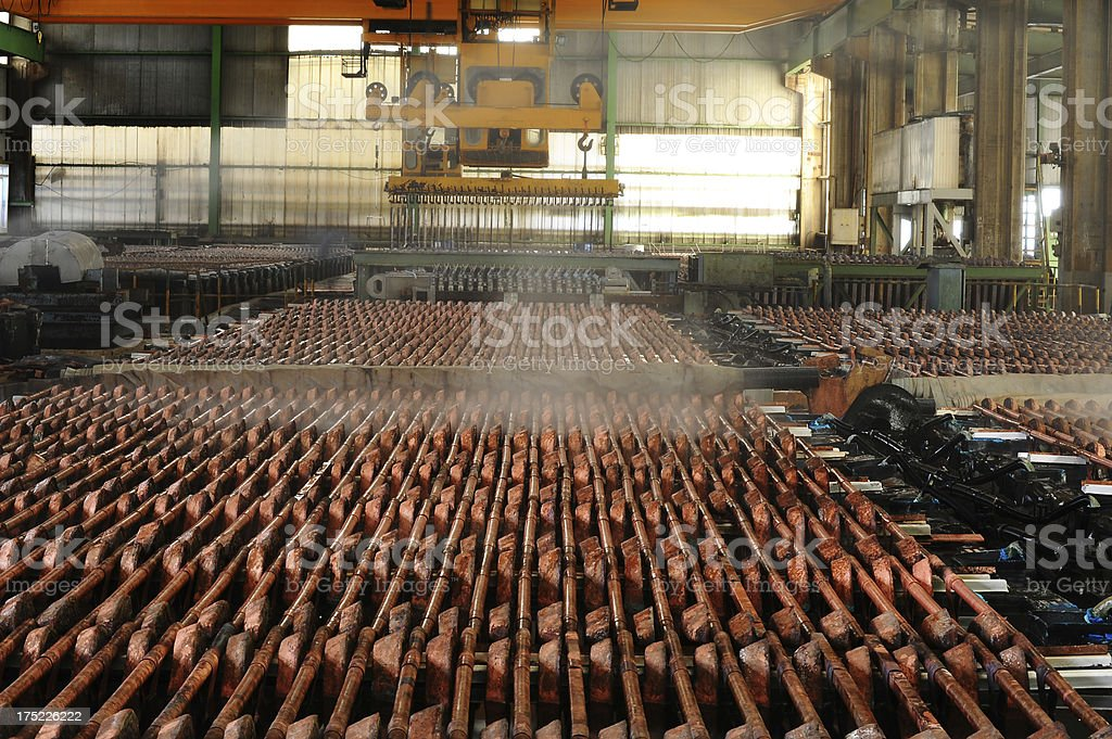 Industrial  crane picking up copper wire royalty-free stock photo