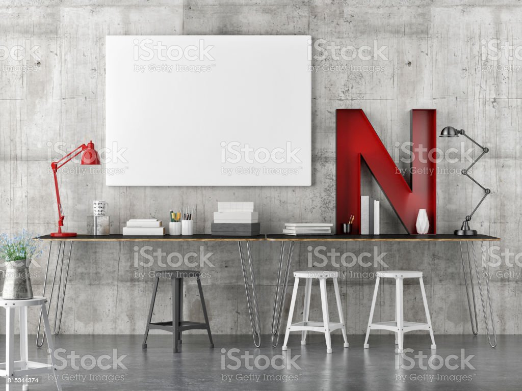 industrial decoration work space with mock up poster
