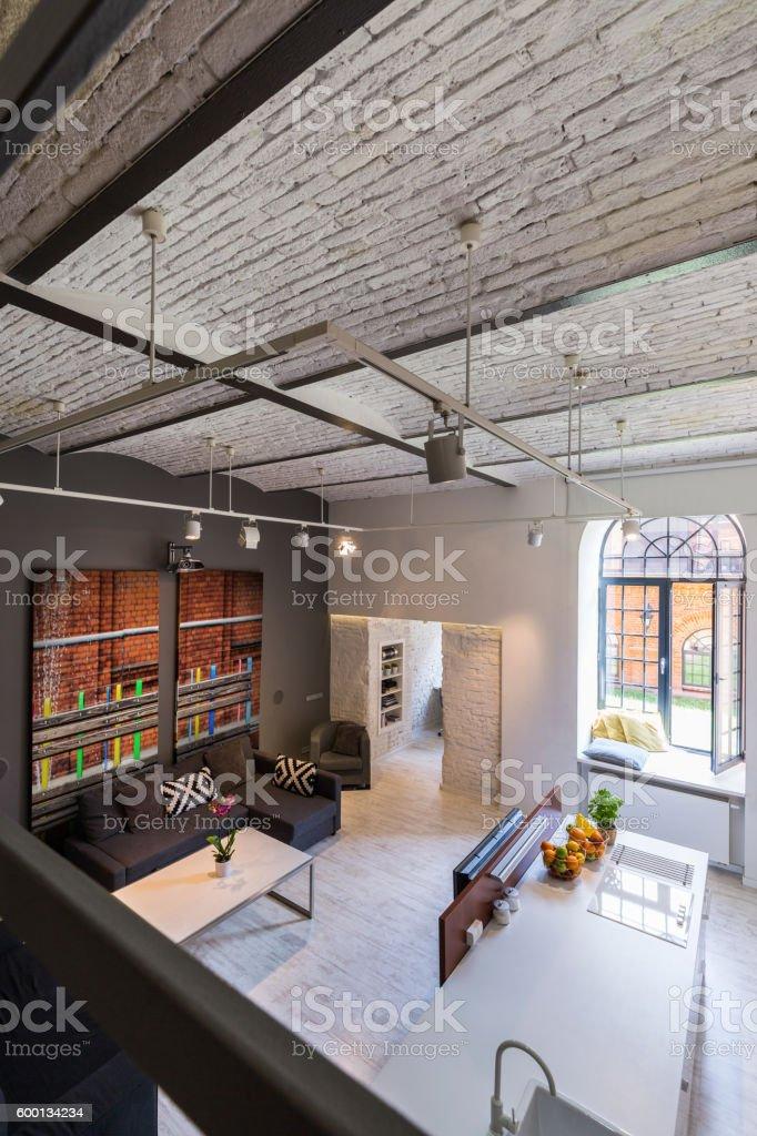 Industrial design interior with mezzanine stock photo