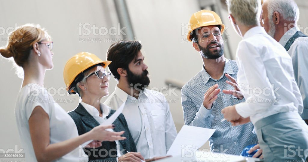 Industrial design team in a meeting. stock photo