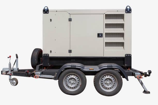 generador de energía diesel industrial sobre fondo blanco. - generadores fotografías e imágenes de stock