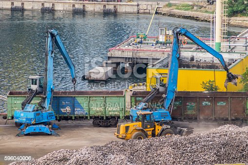 istock Industrial diggers and railway carriages 596040006