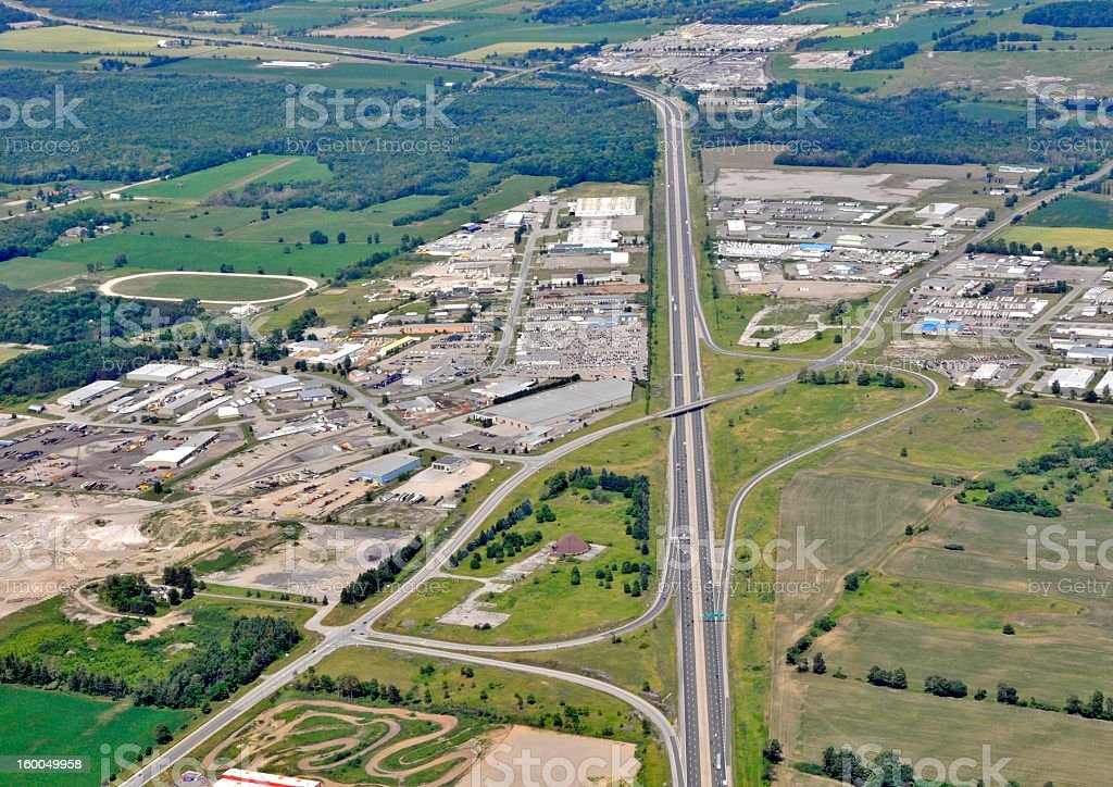 Industrial district aerial stock photo