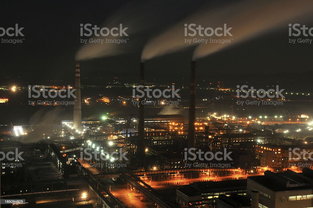 Industrial District night royalty-free stock photo