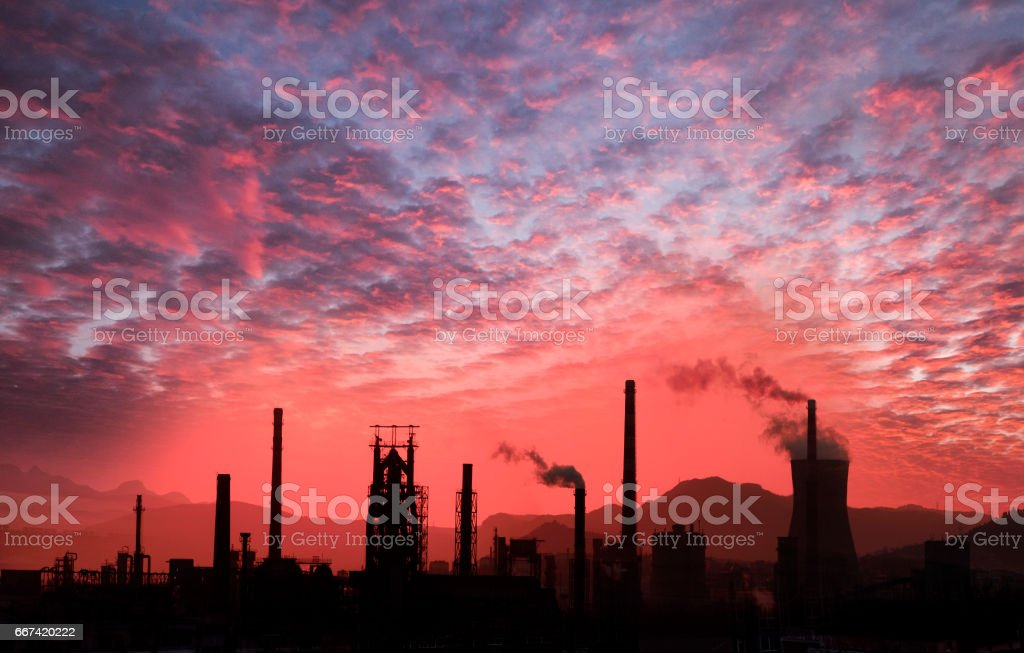 Industrial District of the morning stock photo