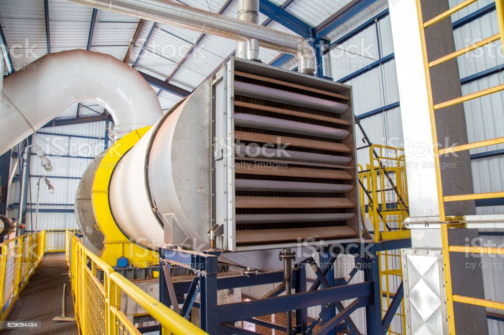 Industrial dryer sugar line production factory stock photo