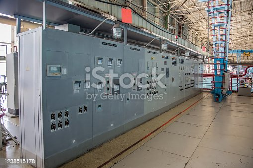 Industrial electrical switch gear panel of power plant or factory.