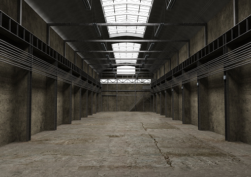 Industrial empty space, vintage old interior designIndustrial empty space, vintage old interior design