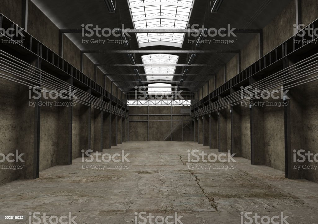 Industrial empty space, vintage old interior design stock photo