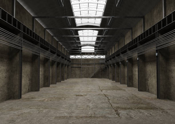 industrial empty space, vintage old interior design - abandoned stock photos and pictures
