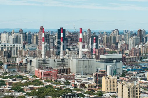 istock Industrial energy factory plant in the big city 858052640
