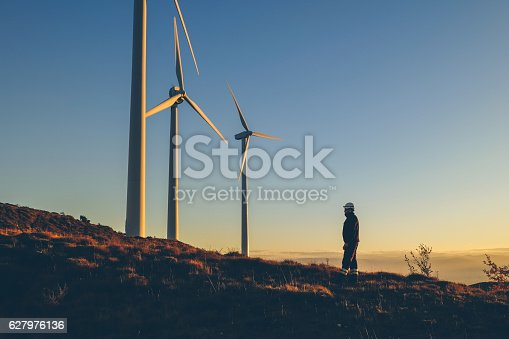 istock Industrial engineer in a windfarm. 627976136