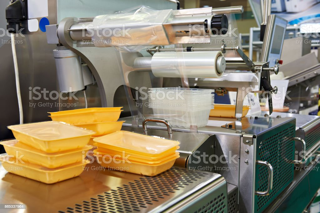 Industrial equipment for food packaging stock photo