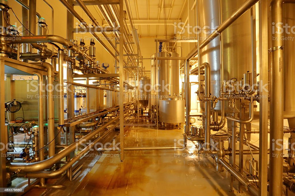 Industrial equipment in the units of the plant stock photo
