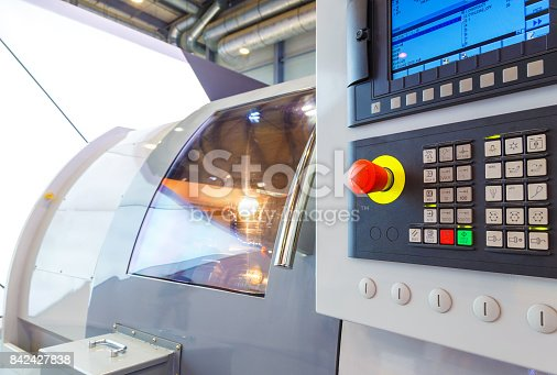 istock industrial equipment of cnc milling machine center in tool manufacture workshop. 842427838