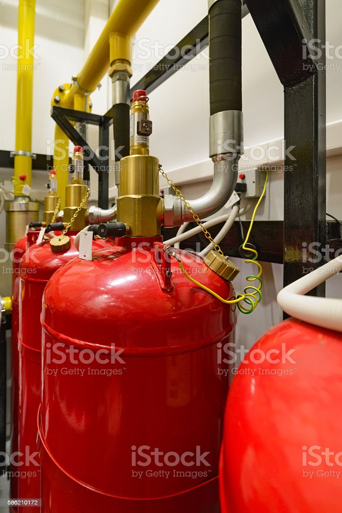 Industrial extinguishing system. stock photo