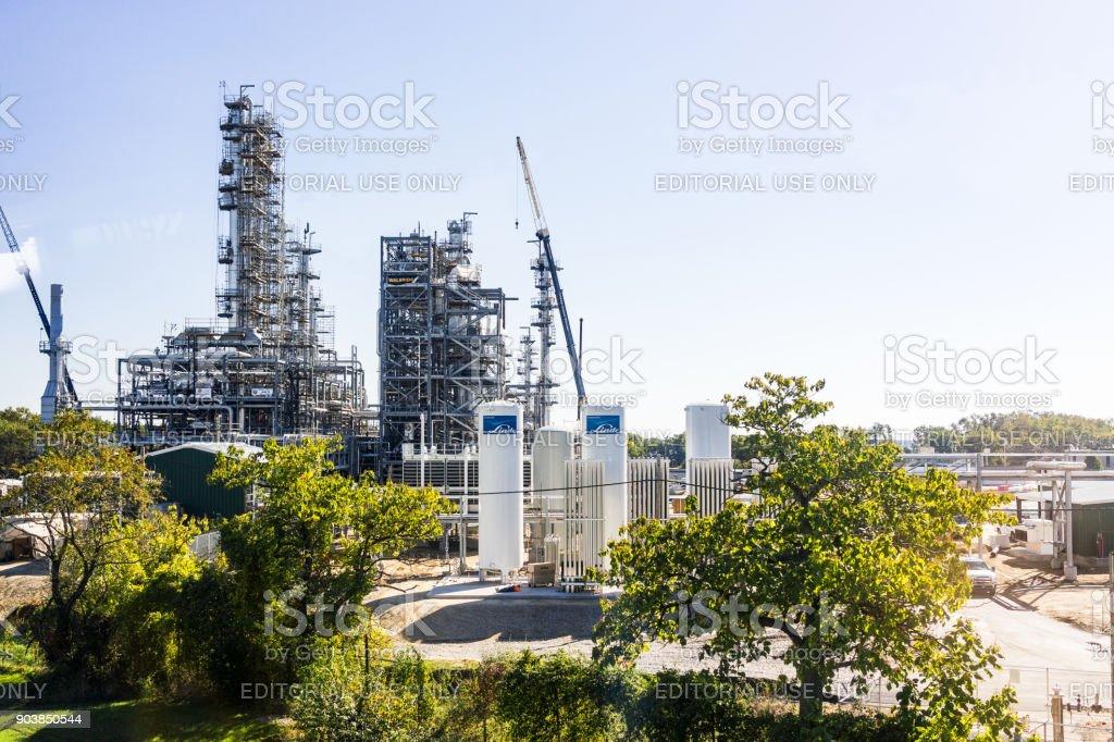 Fábrica industrial em Delaware com Linde fornecedor de gás da América do Norte - foto de acervo