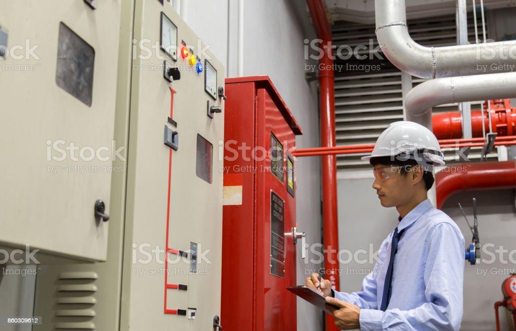 Sistema de controle de fogo industrial, controlador de alarme de incêndio, fogo notificador, Anti fogo. - foto de acervo