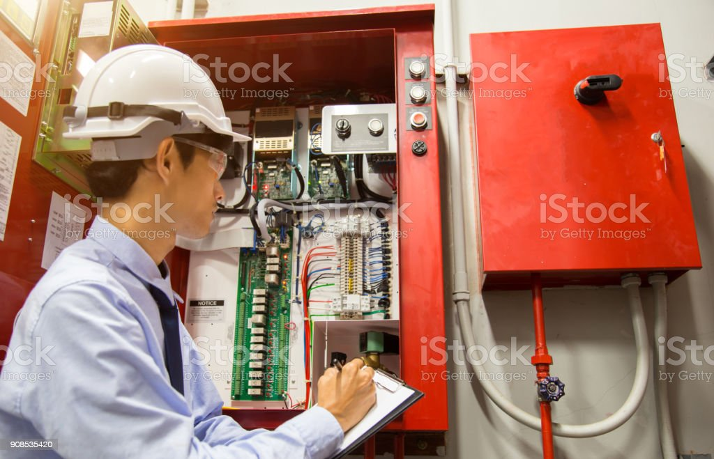 Industrial fire control system,Fire Alarm controller, Fire notifier, Anti fire. stock photo