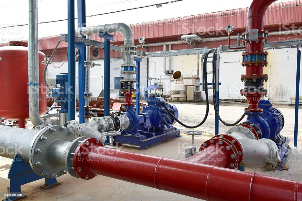 Industrial fire pump system. stock photo