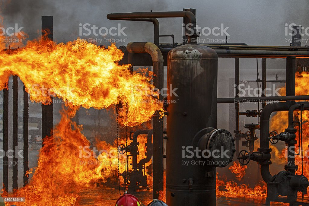 Industrial fire training for refinery or chemical plant fire brigade stock photo