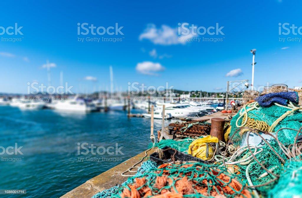 Industrial fishing equipment in Torquay, Devon stock photo