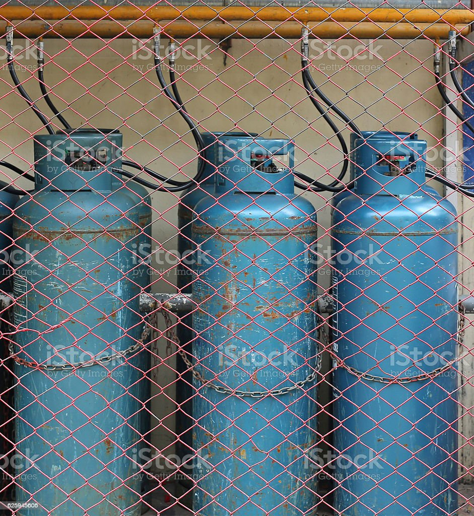 Industrial gas bottles for cooking stock photo