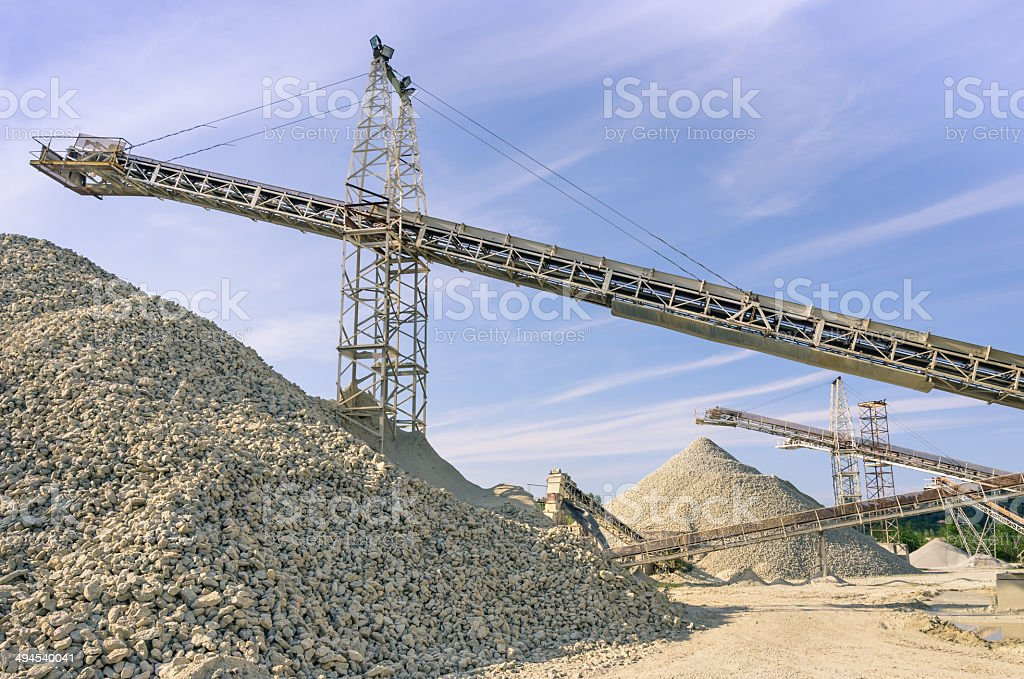 Industrial gravel Quarry and sand Stone refinery stock photo