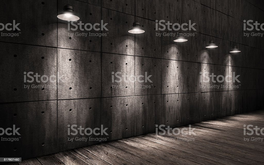 industrial grunge background illuminated ceiling lamps stock photo