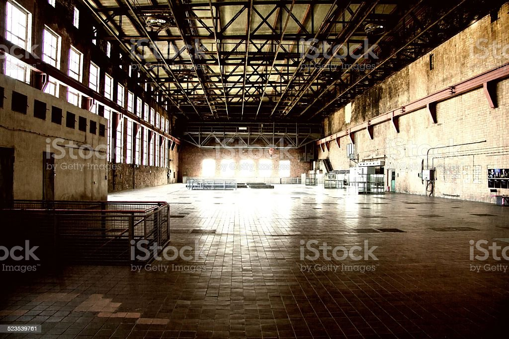 Industrial hall from the second world war stock photo