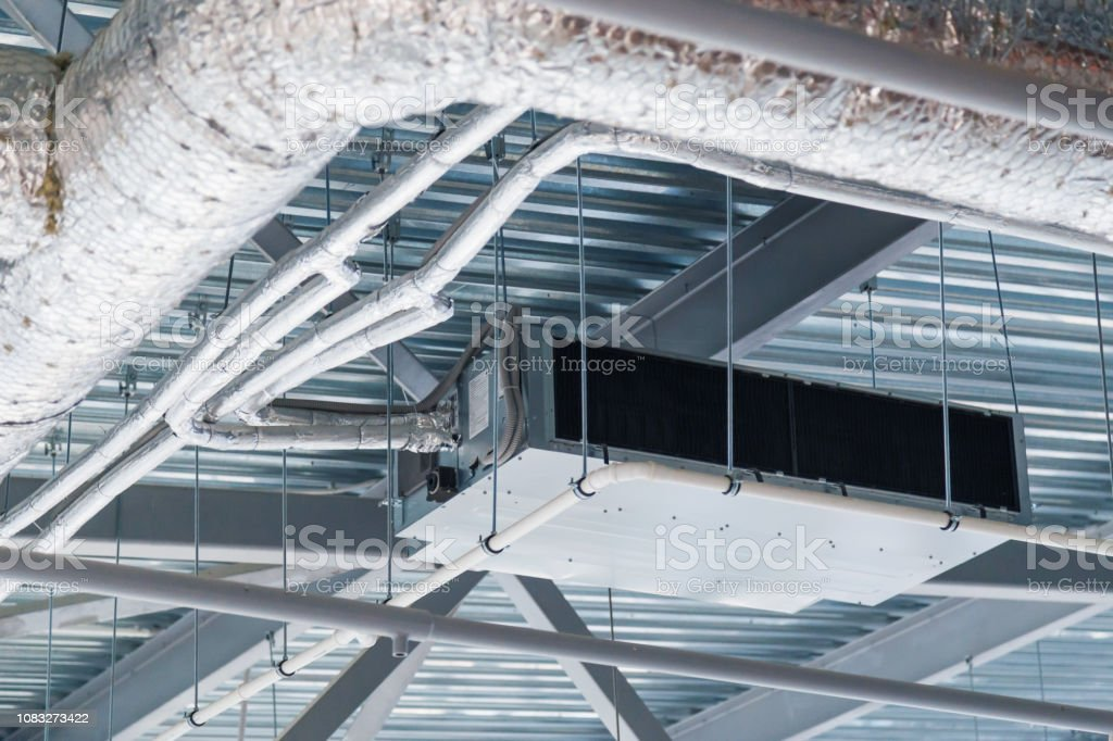 Industrial handling and conditioning suspended unit. Microclimate system stock photo