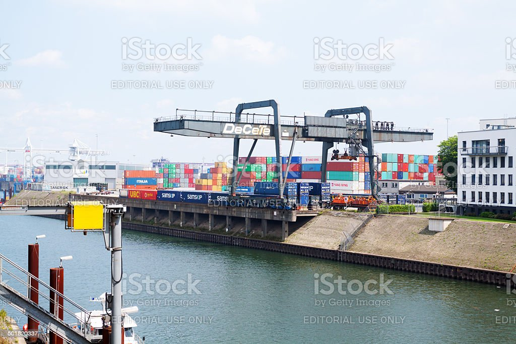 Industrial harbor Duisburg stock photo