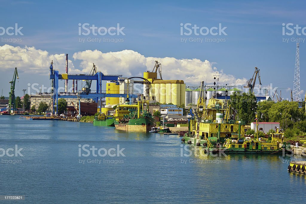 Industrial harbor in Gdansk, Poland royalty-free stock photo