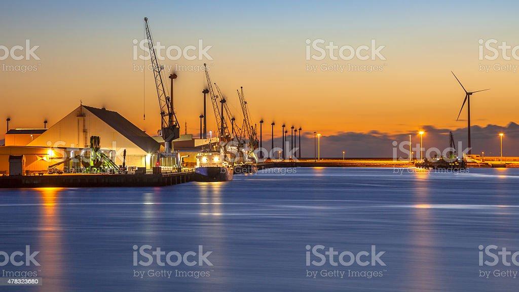 Industrial harbor night scene stock photo