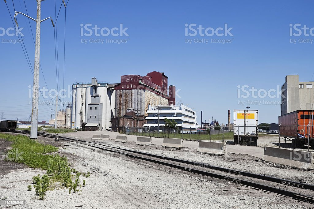 Industrial Harbor on the Calumet River in South Deering, Chicago royalty-free stock photo