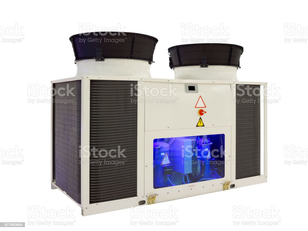 Industrial heat exchanger solution. industrial air conditioning condenser units, air compressor machine isolated on white stock photo