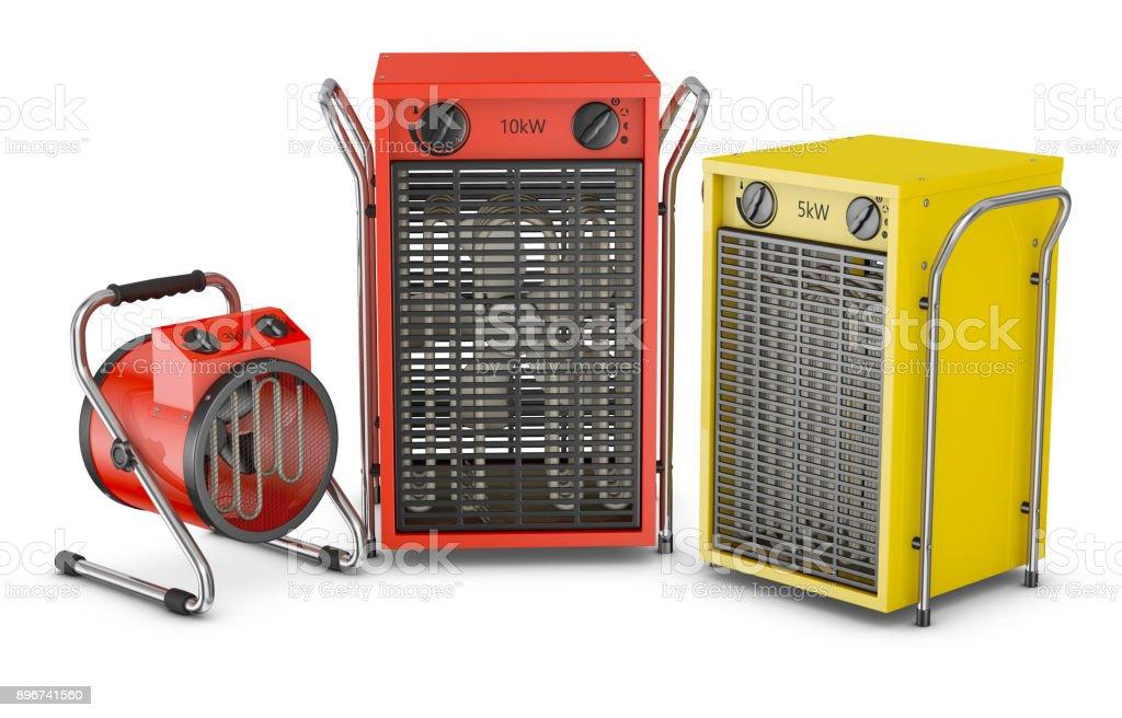 Industrial heat fans stock photo