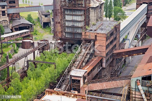Ostrava, Lower Vitkovice, Czech Republic - June 10, 2016: Panoramic high angle view of the former iron heart of Ostrava, historic industrial architecture of the metallurgical plant in Lower Vitkovice.