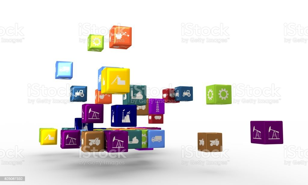 Industrial icons on floating cubes stock photo