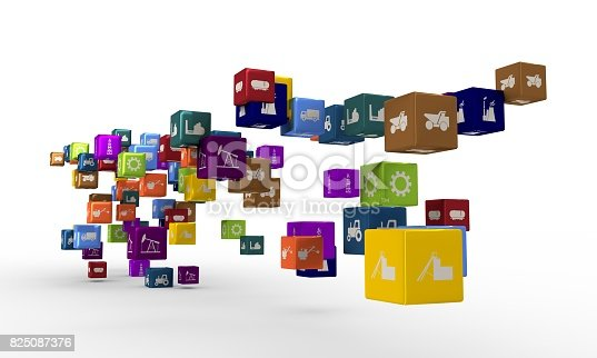 511983606 istock photo Industrial icons on floating cubes 825087376