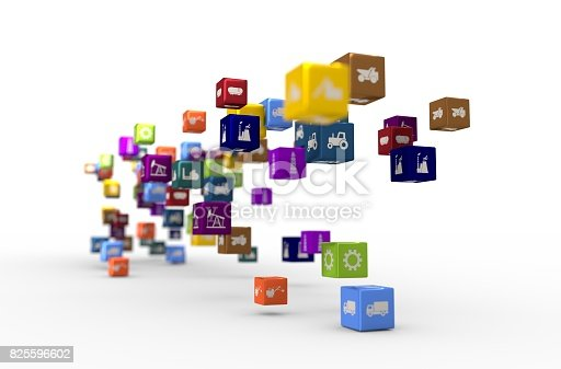 511983606 istock photo Industrial icons on floating cubes 825596602